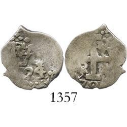 Lima, Peru, cob 1/2 real, 1724/3, rare (unlisted) overdate.