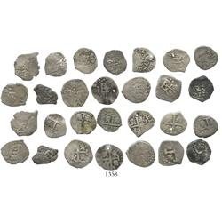 Lot of 14 Lima, Peru, cob 1/2R, Philip V (first reign), various dates (1703 [2], 1705, 1706, 1707, 1