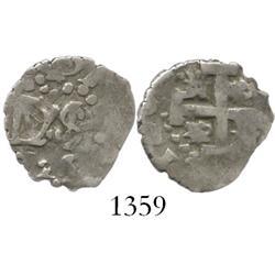 Lima, Peru, cob 1/2 real, 1725, Louis I, rare.
