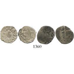 Lot of 2 Lima, Peru, cob 1/2R, 1725, Louis I, rare.
