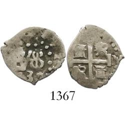 Lima, Peru, cob 1/2 real, 1732/1N, rare overdate (unlisted).
