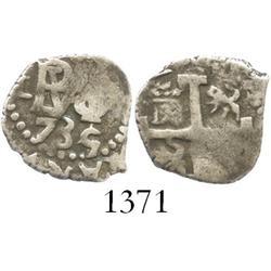 Lima, Peru, cob 1/2 real, 1735/4, rare overdate (unlisted).