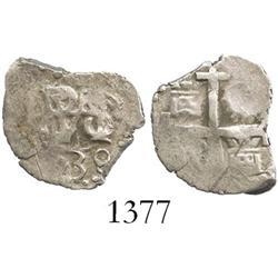 Lima, Peru, cob 1/2 real, 1739/8, rare overdate (unlisted).