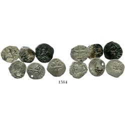 Lot of 6 Lima, Peru, cob 1/2 reales, various dates (1684, 1704, 1705 [2, one holed], 1706, 1724).