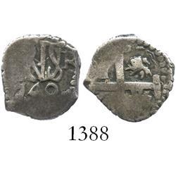 Lima, Peru, cob 1/2 real, 1749R, very rare.