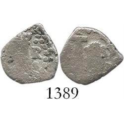 Lima, Peru, cob 1/2 real, 1750R, assayer to right of castle, very rare 1-year error with 1E die.