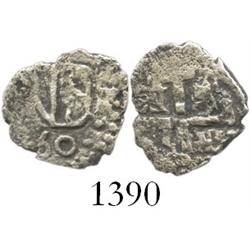 Lima, Peru, cob 1/2 real, 1750R, rare.