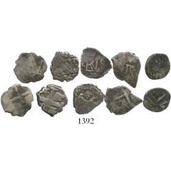 Lot of 5 Lima, Peru , cob 1/2R, Ferdinand VI, various dates (1748[?]V, 1748, 1750 [3]).