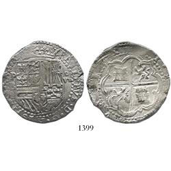 Potosi, Bolivia, cob 8 reales, Philip II, assayer B (4th period), ex-Karon collection.