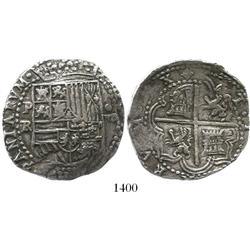 Potosi, Bolivia, cob 8 reales, Philip II, assayer RL (Ramos).