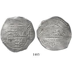 Potosi, Bolivia, cob 8 reales, Philip III, assayer M/Q.