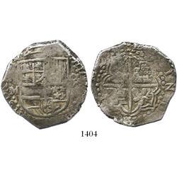 Potosi, Bolivia, cob 8 reales, Philip III, assayer M, pre-date type.