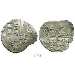 "Potosi, Bolivia, cob 8 reales, 16ZIII (1623)T, quadrants of cross transposed, rare, from the 1629 ""P"