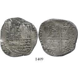 Potosi, Bolivia, cob 8 reales, Philip IV, assayer P (early to mid-1620s).