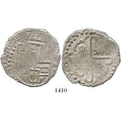 """Potosi, Bolivia, cob 8 reales, 1628P, from the 1629 """"Panama hoard."""""""