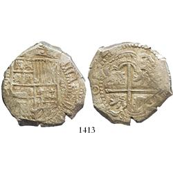 """Potosi, Bolivia, cob 8 reales, 162(9)T, small dots, denomination 8, from the 1629 """"Panama hoard."""""""