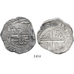 Potosi, Bolivia, cob 8 reales, 1629T, small dots.
