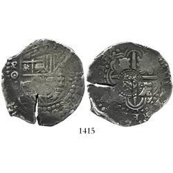 Potosi, Bolivia, cob 8 reales, 1649O, with crowned-O countermark on cross, rare as non-salvage.