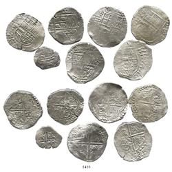 Mixed lot of 7 Potosi, Bolivia, cobs of Philip III and IV: six 8R (assayers curved-leg R, T, P and n