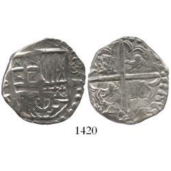 Potosi, Bolivia, cob 4 reales, Philip IV, assayer T (ca. 1629).