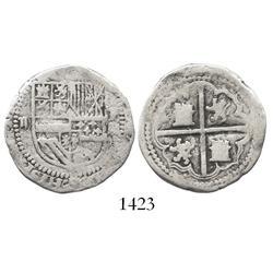 Potosi, Bolivia, cob 2 reales, Philip II, assayer M to right, rare.