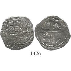 Potosi, Bolivia, cob 2 reales, Philip II, assayer B (5th period), probably from the Atocha (1622) bu