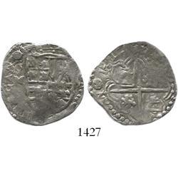 Potosi, Bolivia, cob 2 reales, 1617M, rare first date on Potosi cobs.