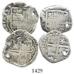Lot of 2 Potosi, Bolivia, cob 2R, assayer T, dated 1629 and 1630 (rare).