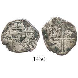 Potosi, Bolivia, cob 2 reales, (1)637TR, very rare.