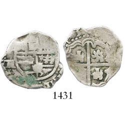 Potosi, Bolivia, cob 2 reales, (16)43TR, very rare.