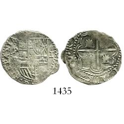 Potosi, Bolivia, cob 1 real, Philip II, assayer B (4th period).