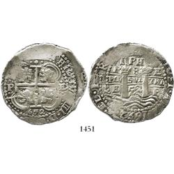 Potosi, Bolivia, cob 8 reales, 1652E post-transitional (Type VIII), 1-PH-6 at top, Royal-like.