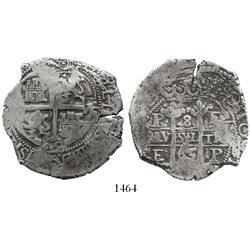 Potosi, Bolivia, cob 8 reales, 1665E.
