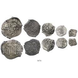 Exceptional denomination set of 8-4-2-1-1/2 reales dated 1682V.