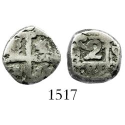 Potosi, Bolivia, cob 2 reales, Philip V or Ferdinand VI, assayer q (ca. 1750), cut down to 1R size.