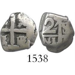 Potosi, Bolivia, cob 1 real, (1751)q/E, unique error with pillars side struck from 2R die.