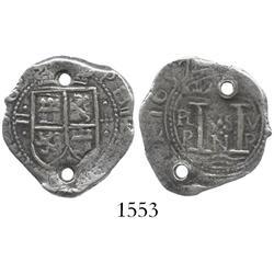 Bogota, Colombia, cob 2 reales, 1652R, Restrepo Plate Coin, very rare.