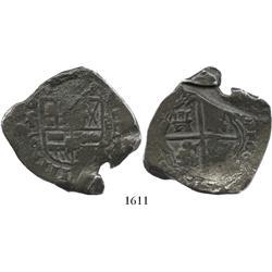 Toledo, Spain, cob 8 reales, 1662CA, very rare.
