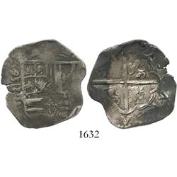 Valladolid, Spain, cob 4 reales, (15)95/5 date to left of shield, assayer (oD) not visible, rare.