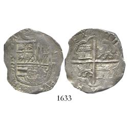 Valladolid, Spain, cob 4 reales, (15)95 date to left of shield, assayer (oD) not visible, denominati