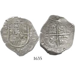 Seville, Spain, cob 4 reales, 1596 date to right, assayer B to left.