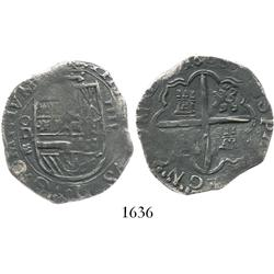 Valladolid, Spain, cob 4 reales, 1600, assayer oD to left, rare.