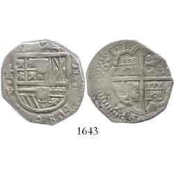 Toledo, Spain, cob 4 reales, 1617V, dots between digits of date.