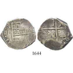 Seville, Spain, cob 4 reales, Philip III, assayer D (1611-18), error with sideways castles in quadra