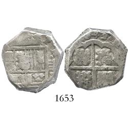 Madrid(?), Spain, cob 4 reales, 1642, assayer not visible.