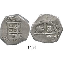 Madrid, Spain, cob 4 reales, Philip IV, assayer not visible, error with castles and lions at odd ang
