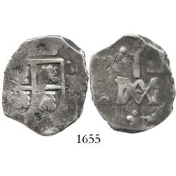 "Seville, Spain, cob 4 reales, Charles II, ""Maria"" type (1689-92), assayer M, with chopmarks (very ra"