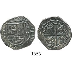 Granada, Spain, cob 2 reales, Philip II, assayer oF.