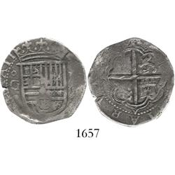 Granada, Spain, cob 2 reales, Philip II, assayer oF to right of shield.