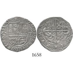 Seville, Spain, cob 2 reales, Philip II, assayer Gothic D at 4 o'clock outside tressure.